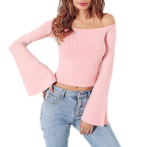DOLDOA Mujer Pure color T-shirt Fansion forma de cuerno suelta Casual La blusa de manga de cuerno To...