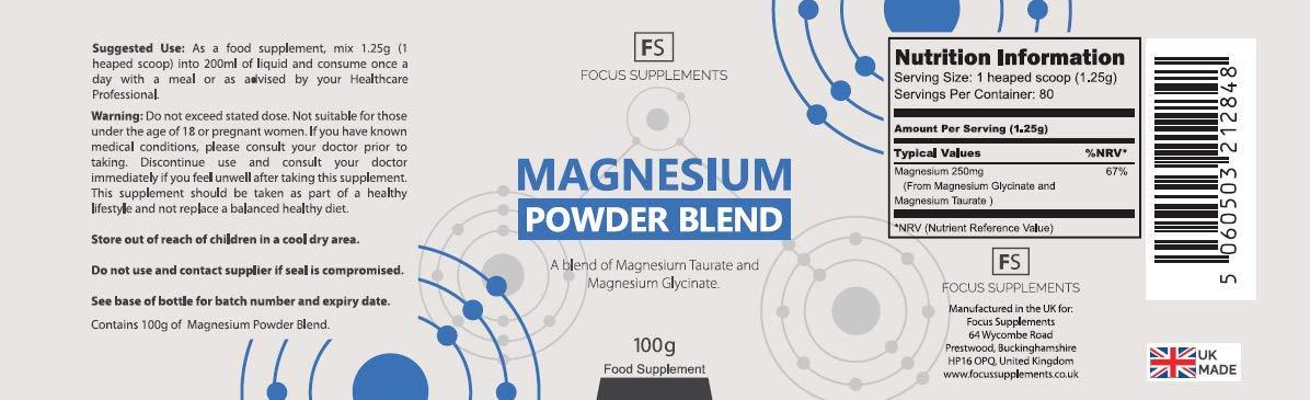 Magnesium Powder Blend - 50:50 de Glicinato y Taurato de Magnesio ...