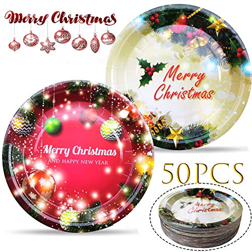 Christmas Plates Party Supplies - Christmas Paper Dinner Platters Set Decor, Disposable Plate Favor for Dessert Cake BBQ, Eve Home Outdoor Dishes Tableware Decoration, 9'' Round Plates 50PCS (Christmas Platters Sale)