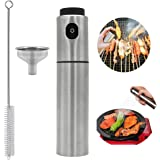 Kalolary Stainless Steel Olive Oil and Vinegar Sprayer Barbecue Marinade Spray Glass Bottle for Cooking Barbecue Salad Baking,Including 1 Extra Mini Funnel