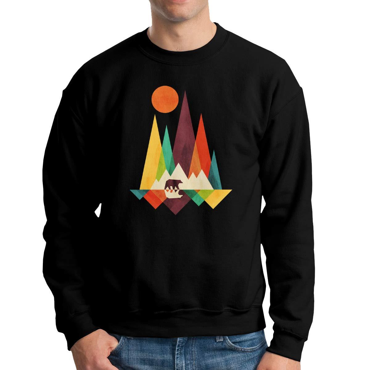 TADMAD Mountain Bear Mens Pullover Hoodie Sweatshirt Long Sleeve Sweater Crew Neck Fine Long Sleeve Slim Fit