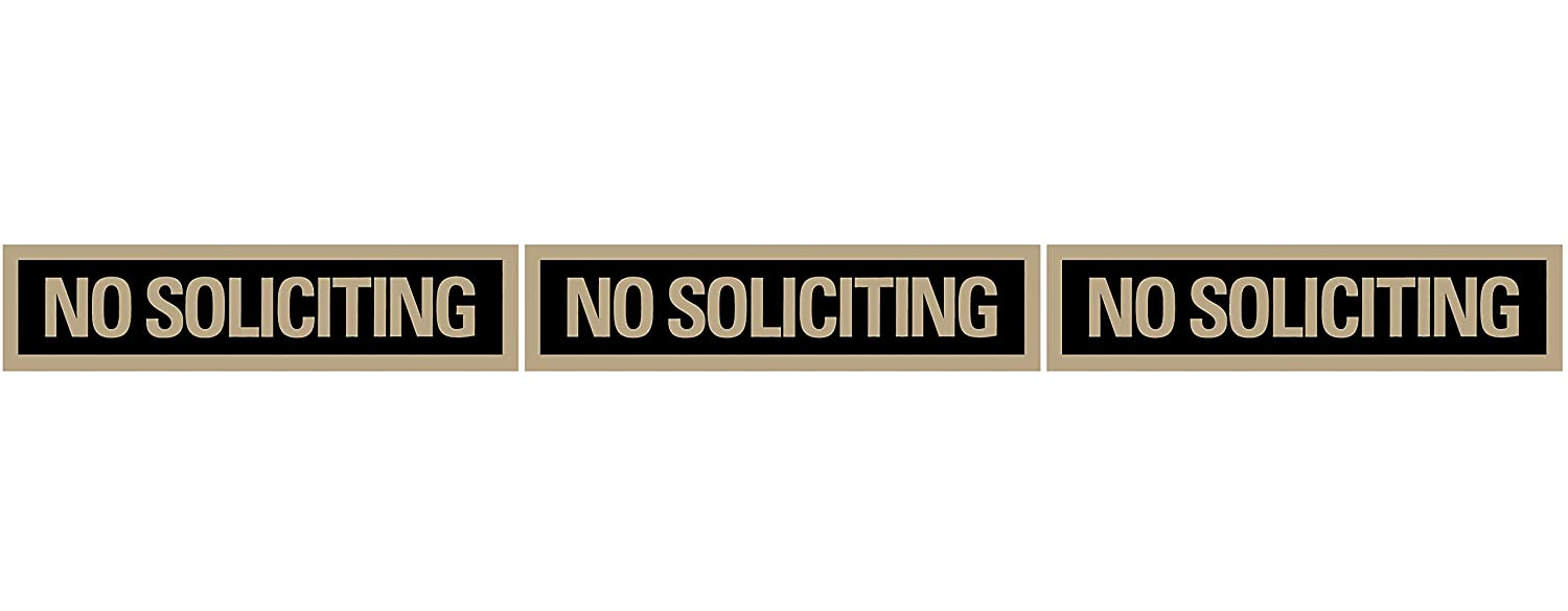 "Headline Sign - Self-Stick Sign,""NO SOLICITING"" Sign, 2 x 8 Inches, Black and Gold (9369) Identity Group Holdings LLC"