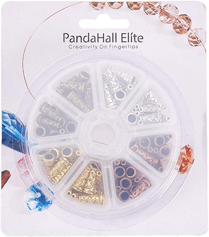 PandaHall 80pcs Tibetan Metal Cone Bead End Caps 4 Colors 18x18mm for DIY Jewelry Making Hole 1mm