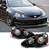 2002 rsx headlight assembly - 2002-2004 Acura RSX Left Driver + Right Passenger Replacement Black Head Lights Front Lamps Assembly