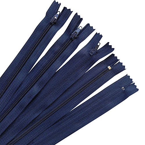 Upick Color 44pcs Nylon Coil Zippers Tailer Sewing Tools Craft 11 Colors JHC09 (navy) (zipper size 8 inch)