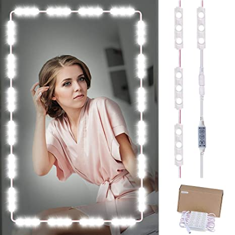 a151b138972 Vanity Makeup Mirror Lights Kit, 60 LED Bright White Strip Dimmable Makeup  Mirror Lights for