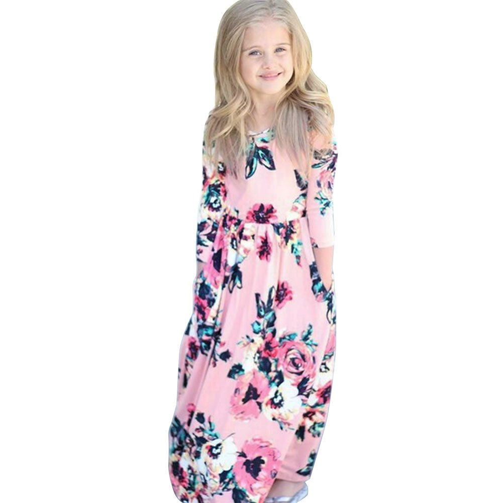 Chinatera Baby Girls Short Sleeves Floral Long Dress Toddler One Piece Beachwear Dresses Outfit for Summer