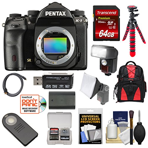 Pentax K-1 Mark II Full Frame Wi-Fi Digital SLR Camera Body with 64GB Card + Battery + Flash + Backpack + Tripod + Kit Pentax Video Cable