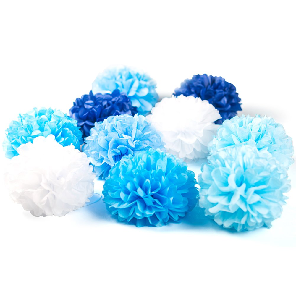 Blue White Easy Joy 10 Pieces Tissue Paper Flower Pom Poms for Wedding Party Outdoor Decorations 8 Inches