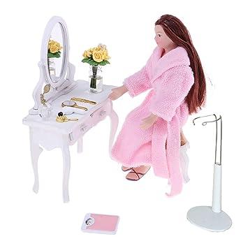 Amazon.es: B Baosity Molde de Doll Girl Muchacha con Albornoz Exhibición de Muñecas Adornos de Realista Figura Niñas para 1/12 Dollhouse: Juguetes y juegos