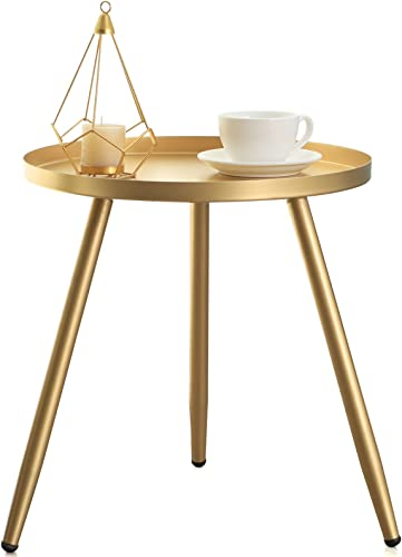 FUNME Tray Metal Round Side End Table Gold Accent Coffee Table
