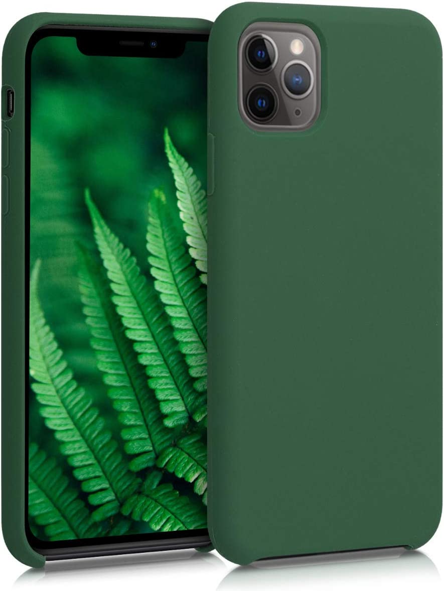 kwmobile TPU Silicone Case Compatible with Apple iPhone 11 Pro Max - Soft Flexible Rubber Protective Cover - Dark Green