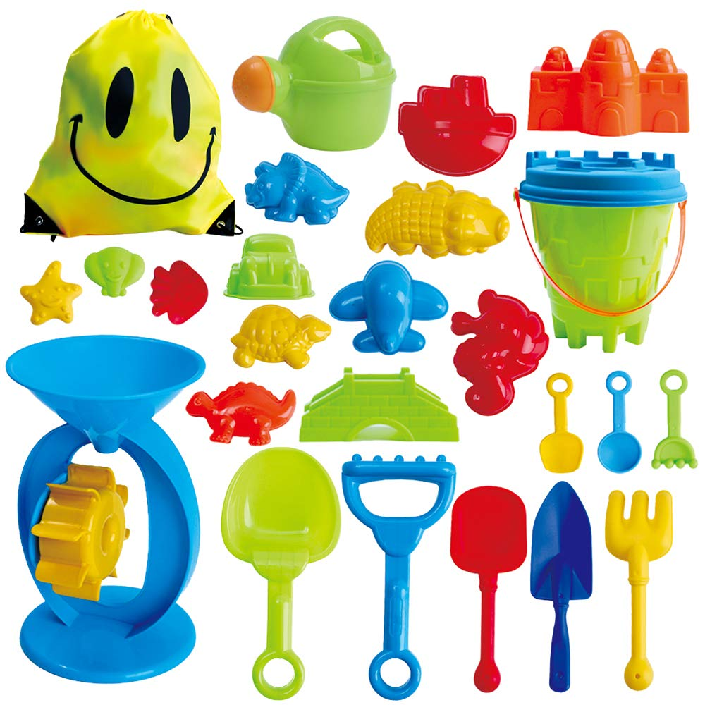 JUOIFIP 25 Pcs Beach Sand Toy Set , Bucket, Sand Wheel, Watering Can, Shovel, Rake, Molds and Sand Tool Play Set with Beach Toy Storage Bag for Kids Baby & Toddlers
