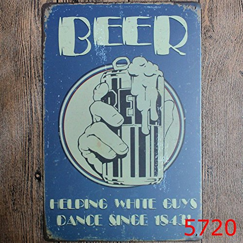 beer helping white guys dance since 1843 metal tin sign suitable for home and kitchen Bar Cafe Garage Wall Decor Retro vintage 8 X 12 inch
