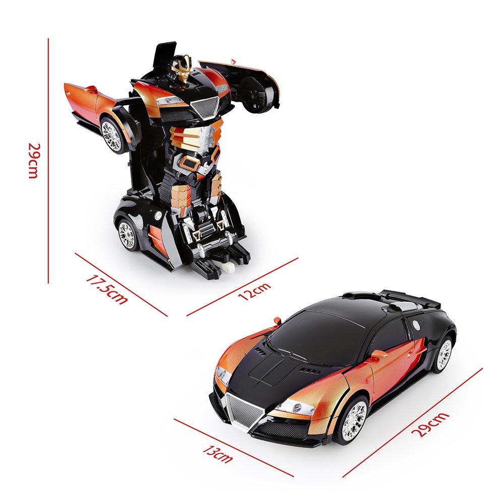 SainSmart Jr. Transformation Car Toy Bugatti Car Robot for Kids, RC Car One Button Transforms into Robot, Remote Control Transforming Robot (Orange) by SainSmart Jr. (Image #6)