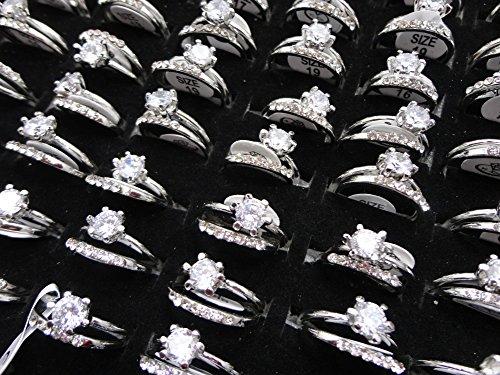 AIHIQI Fashion Wholesale Lots Rhinestone Cz Finger Ring for Mens Womens Gift (10pair (No Box)) by AIHIQI (Image #3)
