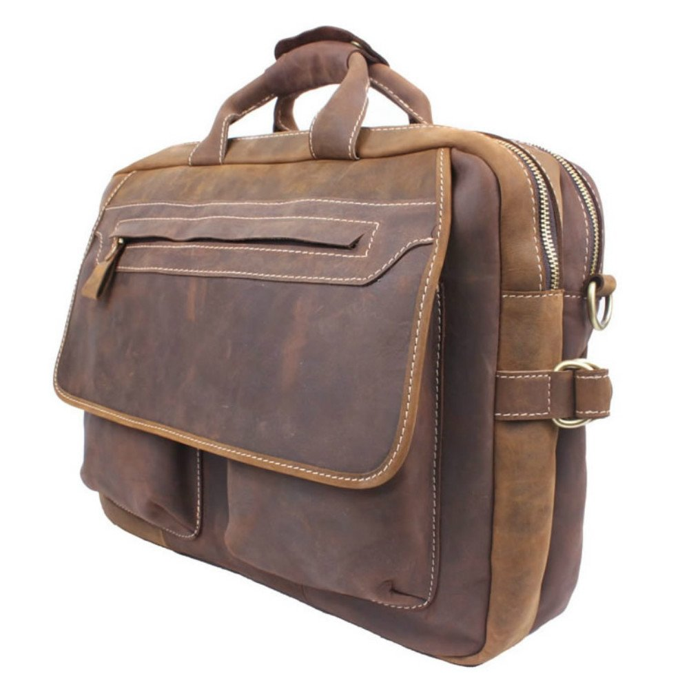 Men's Handmade Vintage Leather Briefcase / Leather Messenger Bag / 15'' MacBook Pro 14'' Laptop Bag / Travel Bag by Memory1985 (Image #1)