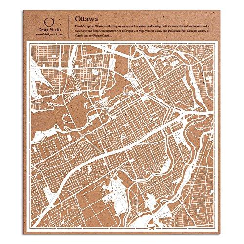 Ottawa Paper Cut Map by O3 Design Studio White 12x12 inches Paper - Map State Plaza Garden