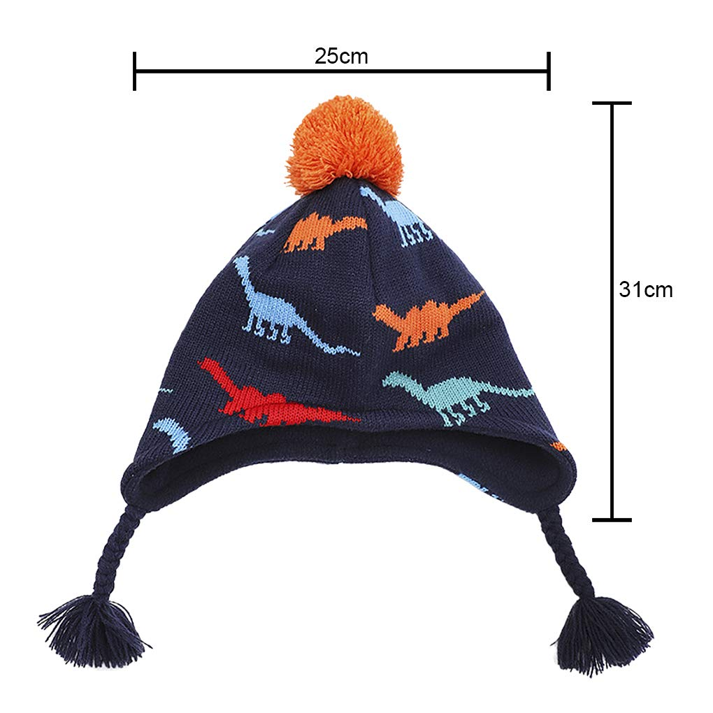 Kids Boys Girls Winter Bobble Hat with Ear Flaps Warm Hooded Beanie Cap Thermal Knitted Earcuff Hat Pom Beanie Beret Windproof Snow Skiing Cycling Hat for Girls Boys for 3-8 Year Old