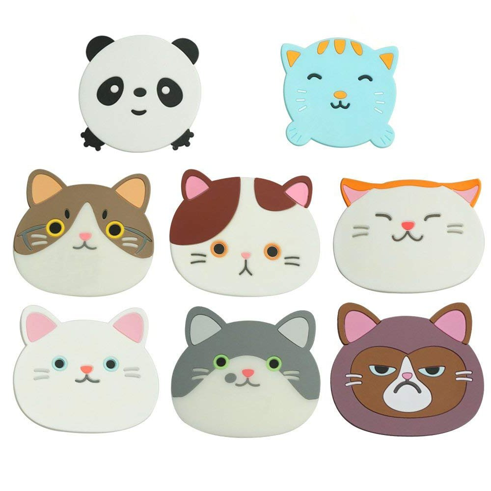 Amazon.com | 7PCS Cat Tea Cup Mat Silicone Rubber Coasters and 1PC ...