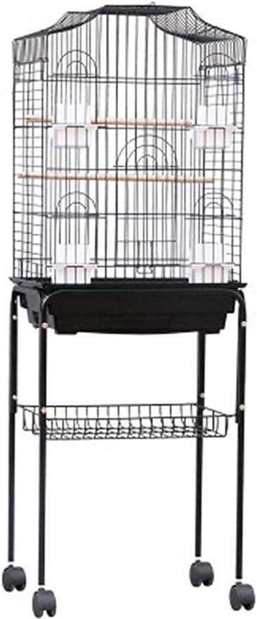 Jaula dpájaros duradera y ecológica, Jaula de vuelo para periquitos de loros para pájaros grandes, stand de jaula de pájaros, gran jaula de pájaros de hierro de lujo, jaula de budgerigar negro, con so