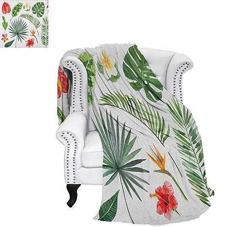 52ef4f9558e80 Aloha Weave Pattern Blanket Artistic Tropical Plants Set Lush Jungle  Rainforest Elements Blossoms and Leaves Lightweight Blanket 60