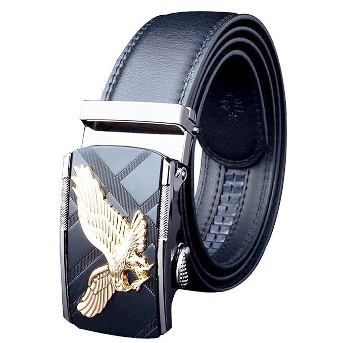 Cinturón Hombre Cuero Real/Metal Automático águila Dorada ...