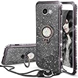 Galaxy J7 Prime/J7 Perx/J7 V/J7 2017/J7 Sky Pro/Galaxy Halo Case, ZHFLY Bling Diamond Glitter Sparkle Silicone Clear TPU Cover With Metal Stand Holder & Lanyard, Black