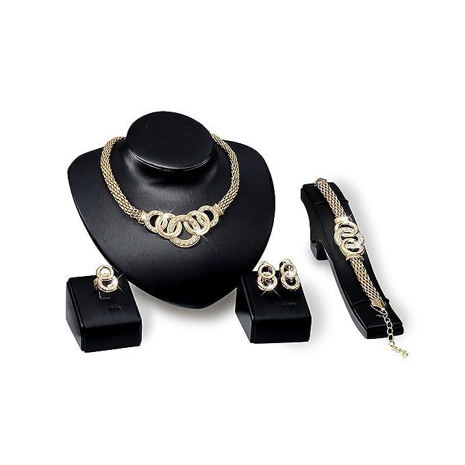 Collar de oro enchapado, conjunto para boda - 4 piezas.
