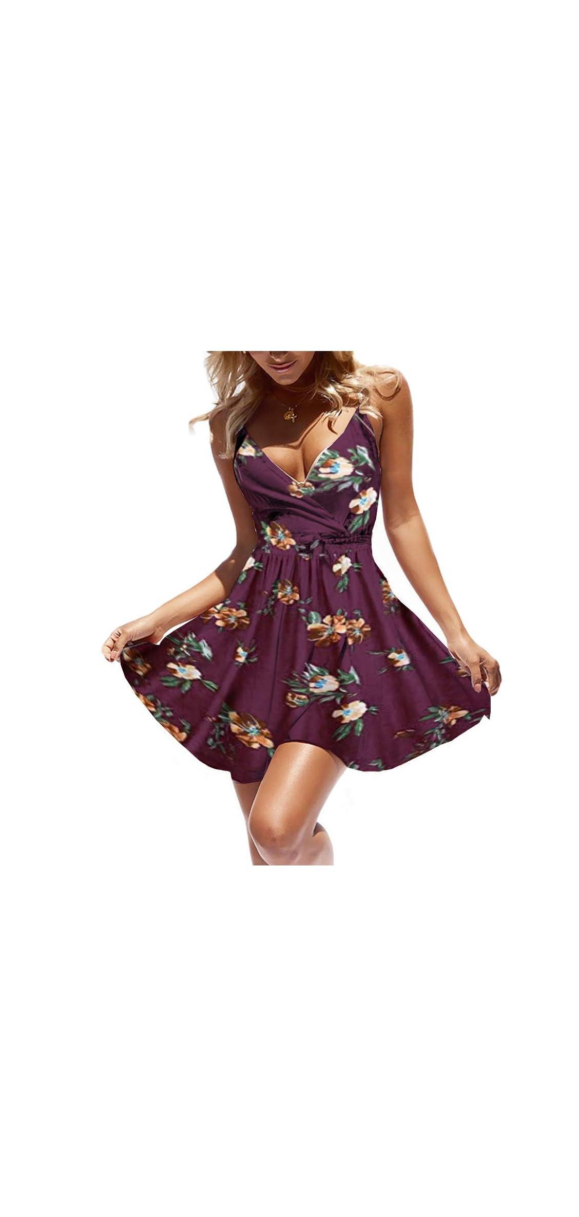 Women Dress Summer V Neck Mini Floral Print Swing Dress