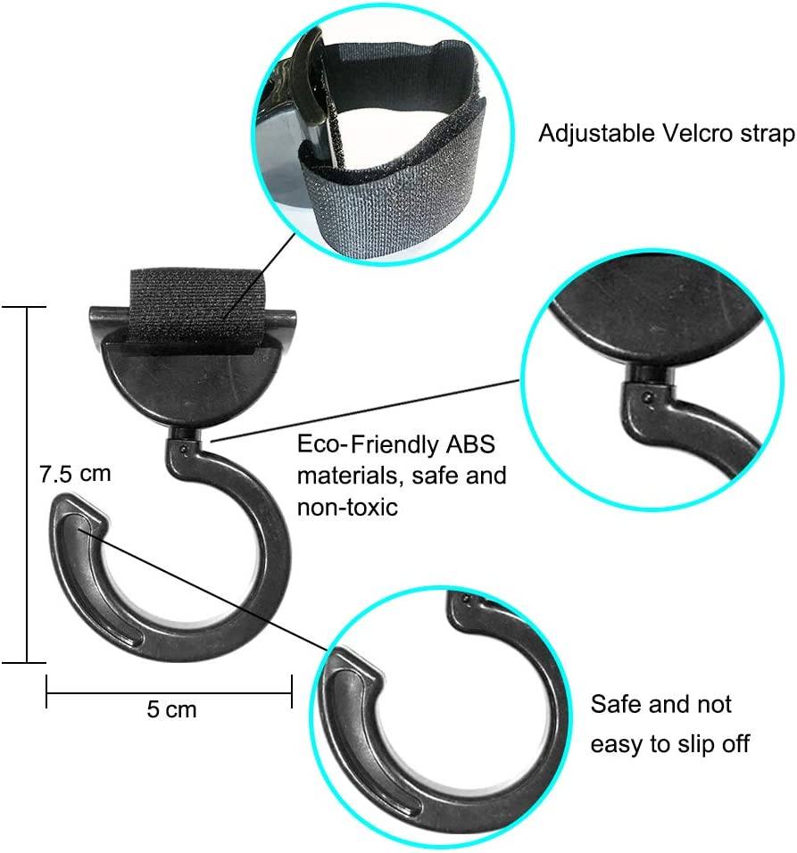 Rayuda Plastic Buggy Clips for Pushchair Stroller,Black,Contains A Spare Velcro Strap,360 Degree Rotating Pram Clips,2 Pack
