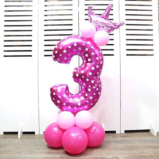Globos de papel de aluminio con corona para fiesta de cumpleaños. Números 0 al 9 3 rosa