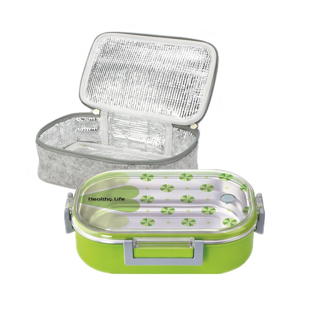 Lille 32oz Stainless Steel Thermal Lunch Box, Insulated Bento Box/Food Container with Insulation Lunch Bag   Adults, Kids   Men, Women