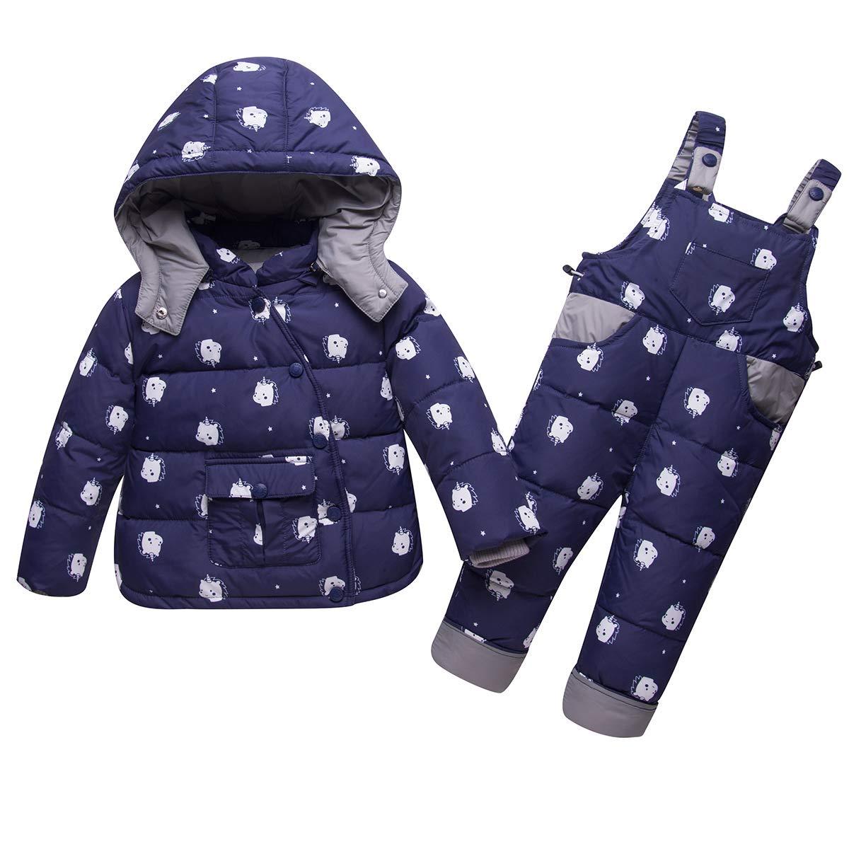 SANMIO Kinder Schneeanzug 2tlg Mädchen Jungen Süß Daunenjacke mit Kaputze und Daunenhose Winterhose Bekleidungsset SA140