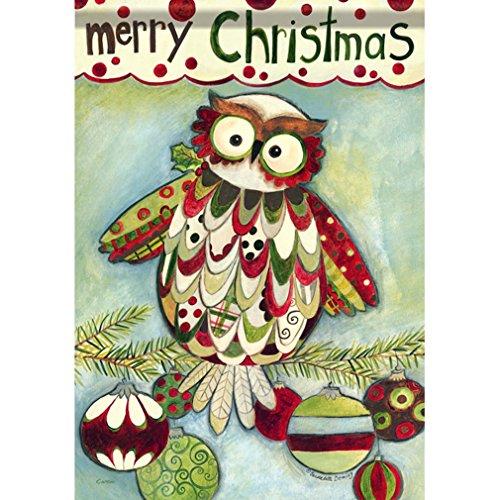 """Christmas Owl Garden Dura Soft Flag 13"""" x 18"""" Bernadette Dem"""
