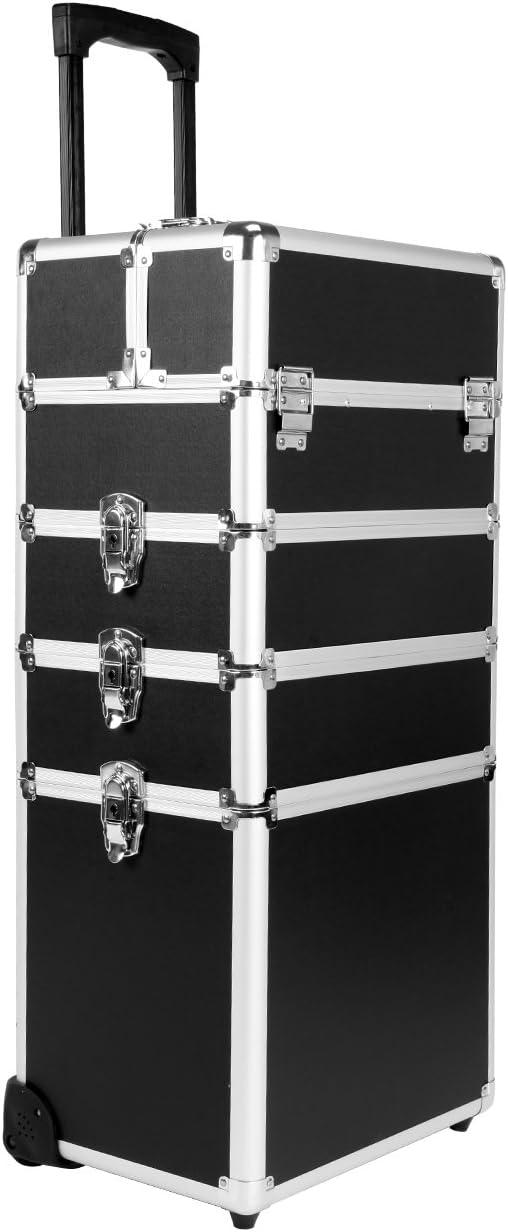 Paneltech 4 en 1 Belleza Maquillaje Belleza Rolling Case Organizador Cosméticos Peluquería Caja de Almacenamiento con Cerradura Bolsa Profesional portátil de Viaje Trolley (Negro)