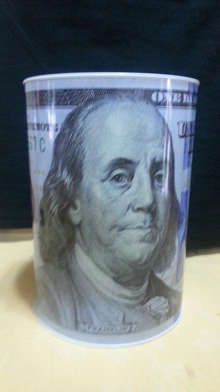 100 Dollar Bill Tin Money Bank JUMBO, Bank Note Tin Metal Money Box 100$ Bill dollar moneybox, 8.5' Tall x 6.0' Metal Money Coin Bank, $100 Bill dollar bank, Benjamin Franklin coin bank, Cash Bank