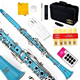 Glory B Flat Clarinet with Second Barrel, 11reeds,8 Pads cushions,case,carekit and more~ Light blue
