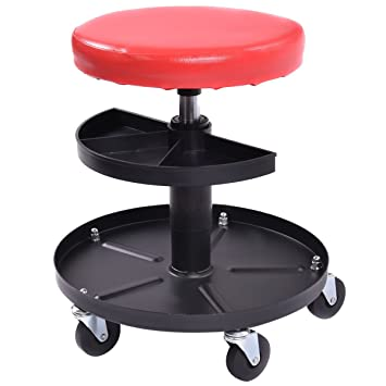 Goplus Adjustable Mechanics Rolling Creeper Seat Stool Pneumatic Chair Tray Padded Repair Shop Garage w/  sc 1 st  Amazon.com : stool with wheels for garage - islam-shia.org
