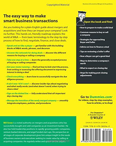mergers and acquisitions for dummies bill snow 9780470385562