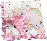 Baby Girls Newborn Unicorn Polka Double Layer Minky Receiving Blanket Cotton