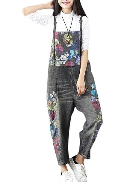 a4dcda6fb7bf Simgahuva Women Loose Baggy Denim Wide Leg Jumpsuit Overalls Black One Size