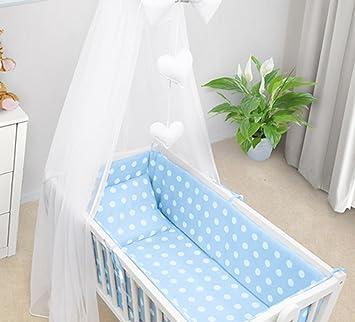 Juego de sábanas para bebé de 7 piezas, 90 x 40 cm, compatible con cuna de balanceo - azul lunares: Amazon.es: Bebé