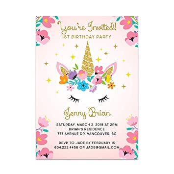 amazon com custom unicorn birthday party invitations for kids