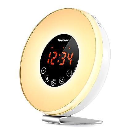 Tasikar Despertador Despertar luz Despertadores Digitales con Simulación del Atardecer y Amanecer Múltiples Sonidos de la Naturaleza con función ...