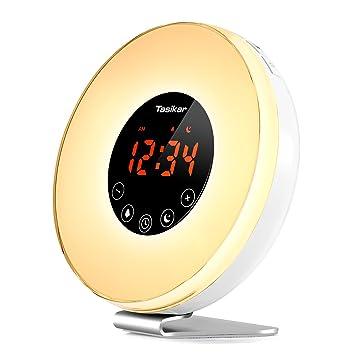 Tasikar Despertador Despertar luz Despertadores Digitales con Simulación del Atardecer y Amanecer Múltiples Sonidos de la Naturaleza con función Snooze FM ...
