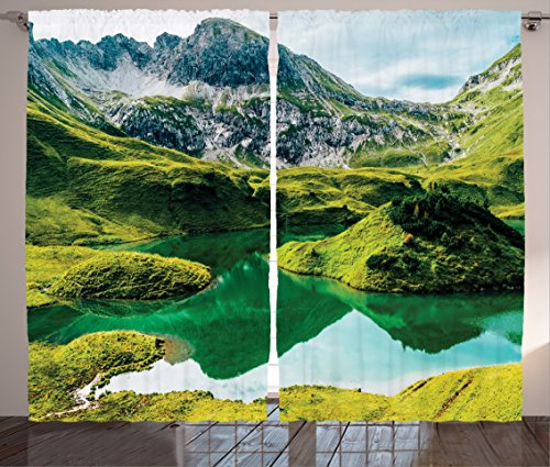 (Ambesonne Lake House Decor Curtains, Idyllic Crystal Clear Lake with Hills Italian Bavarian Alps National Park View, Living Room Bedroom Window Drapes 2 Panel Set, 108W X 63L Inches, Green)
