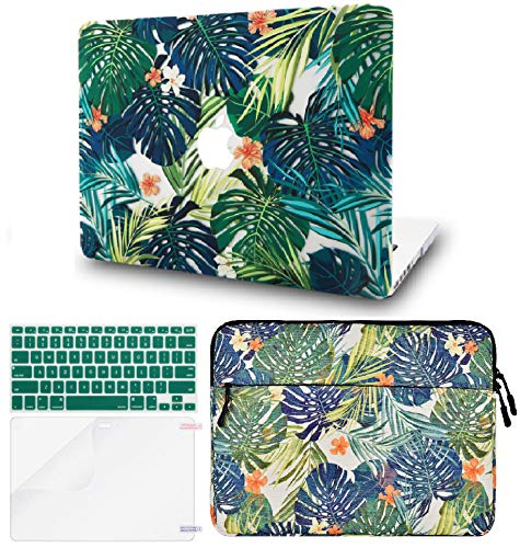 """KECC Laptop Case for Old MacBook Pro 13"""" Retina (2015-) w/Keyboard Cover + Sleeve + Screen Protector (4 in 1 Bundle) Plastic Hard Shell Case A1502/A1425 (Palm Leaves Lilies)"""