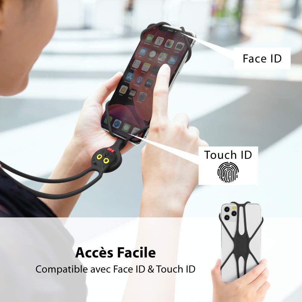 -Rouge Etui Universel avec Cordon D/étachable Silicone pour iPhone 11 Pro Max XS XR Galaxy S9 Note 9 Pixel 3 XL Attache Tour de Cou T/él/éphone Portable Smartphone de 4 /à 6.5 inch 2/ème G/én/ération