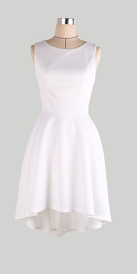 Women Round Neck Sleeveless Asymmetrical Swallowtail Cocktail Skater Mini Dress at Amazon Womens Clothing store: